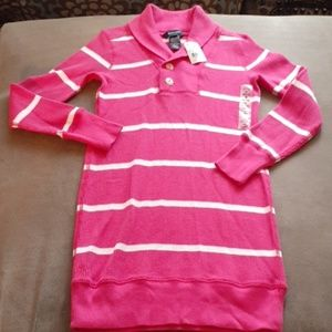 Ralph Lauren girls Henley dress 8 / 10 pink stripe